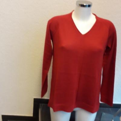 Damen Pullover 100%Baby Alpaka, Tomatenrot