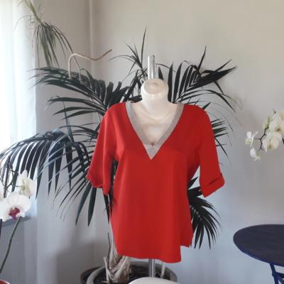 NEUE!Dreiviertelarm T-Shirt Rot,frisch für den Sommer und Frühling aus 100%pima Baumwolle.%%%%%%%%