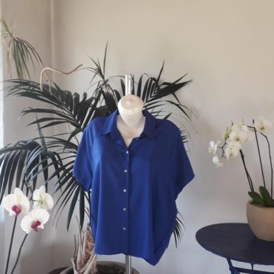 NEUE!Klassische Kurzarm im Königblau farbe,100%Pima Baumwolle.%%%%%%%%