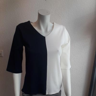 Marineblau  und beig,100%Pima Baumwolle, 3/4 Ärmeln .